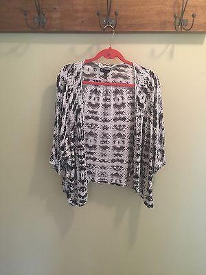 Plus Size 2X Valerie Bertinelli Jacket Blouse Black White Gray