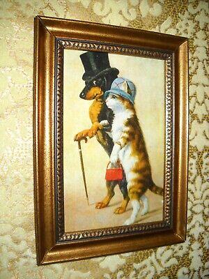 CAT & DOG GO WALKING 4 X 6 gold framed animal picture Victorian style art print Cat Dog Art
