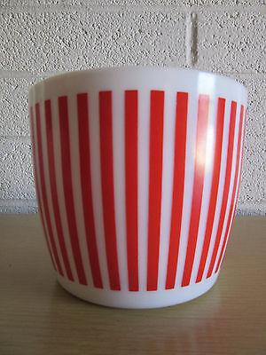 Hazel Atlas VTG milk glass RED & WHITE STRIPE ICE BUCKET candy stripe bar bowl