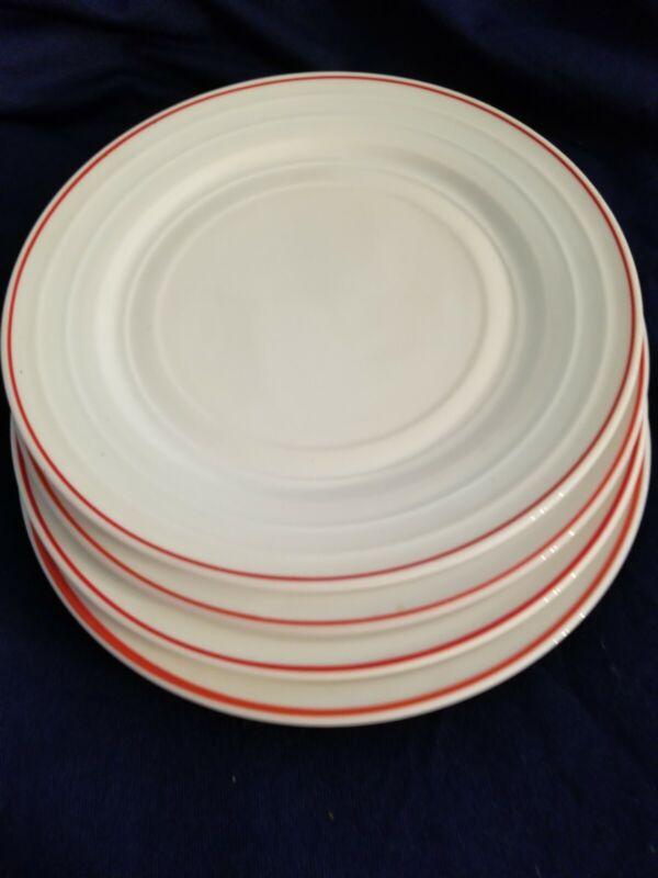 Hazel Atlas  MODERNTONE  Red & White  4 Large PLATES ..PRISTINE  CONDT.