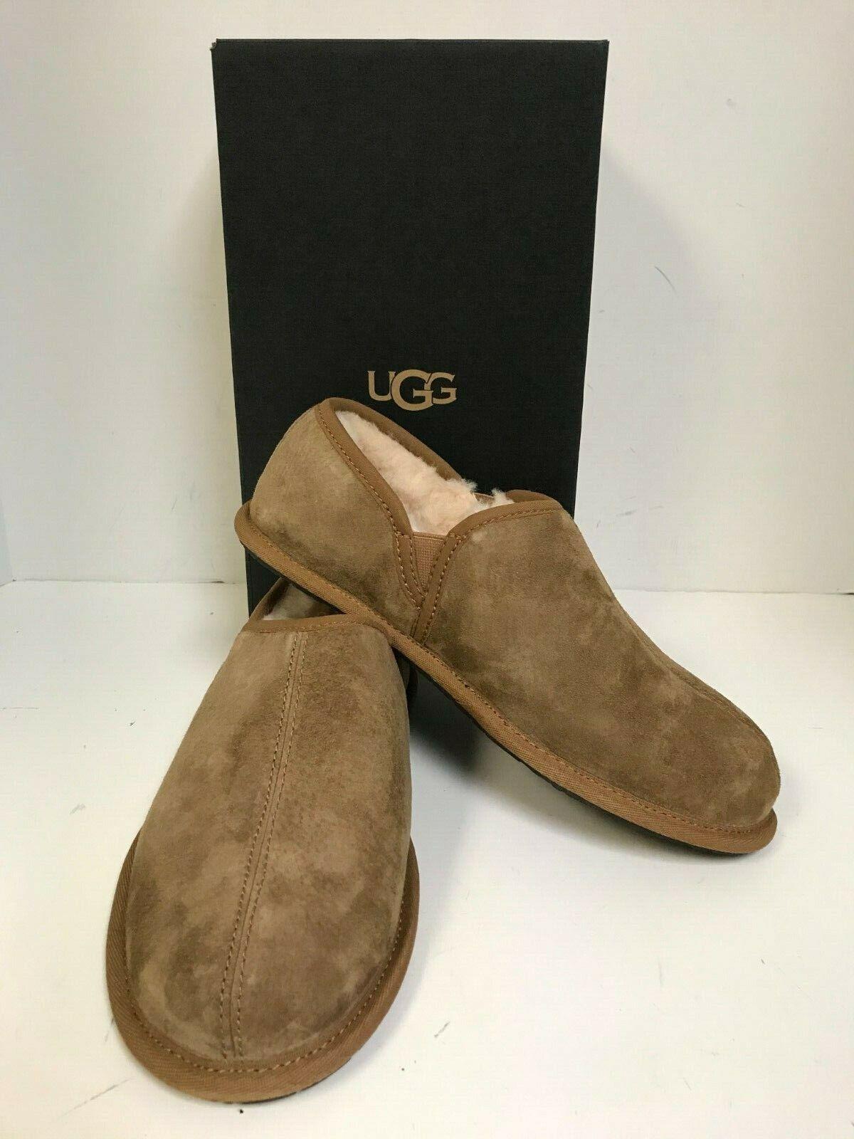 UGG Men's Scuff Romeo II Chestnut Suede Fur Lined Slippers