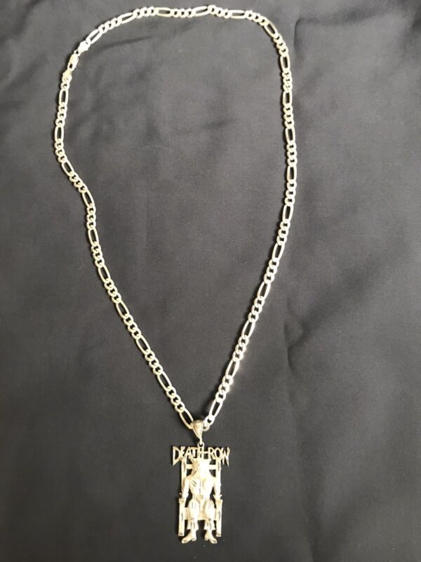 """Rare Vintage Death Row Records Medallion Chain 30"""" Sterling Silver"""
