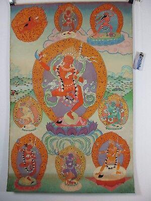 altes MAHAKALA Thangka Buddha Gott Schädel Tod Seide Bild Papier 90cm Tibet 1970