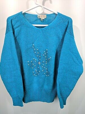 Vintage 80s 90s Gucci Knit Sweater Light Blue Glass Beads Sz 44 IT 8 US 13005