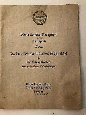 1930 Banquet Menu Honoring Admiral Byrd at Hotel Copley Plaza, Boston
