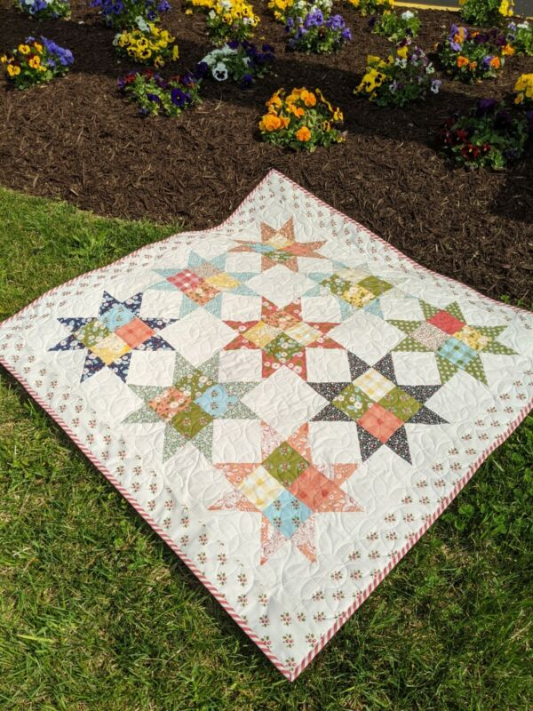 """Quilted Table Topper-Floral Table Topper-Small Quilt-Table Runner-42"""" Square"""