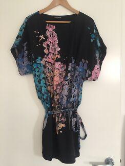 Silk floral print dress, Warehouse, size 6
