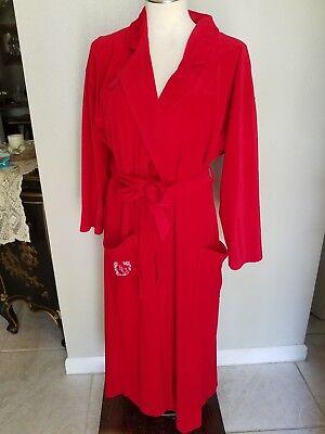 Pierre Cardin Vintage Red Velvet Robe W/Designer's Initials on Pocket Size - Red Velvet Robe