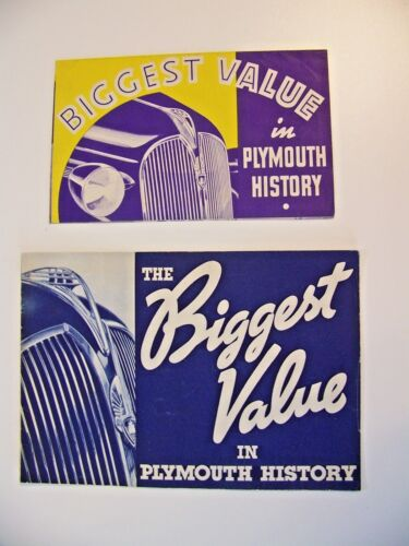 TWO 1937 PLYMOUTH ORGINAL SALES BROCHURES !!