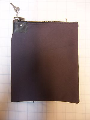 1 Gray Canvas Locking Bank Deposit Bag with Deluxe Pop Up Lock and 2 Keys