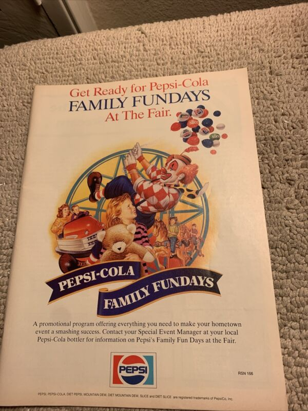 "10 5/8-8 1/4""  Pepsi Cola Family fundays At the fair FLYER"