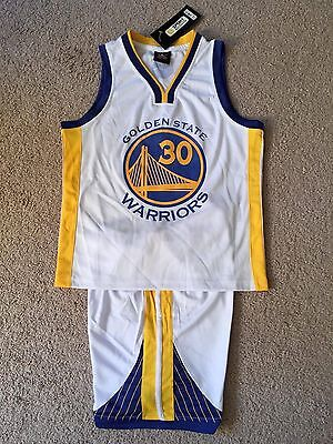 Stephen Curry  30 Golden State Warriors Youth Kids Basketball Jersey Set White