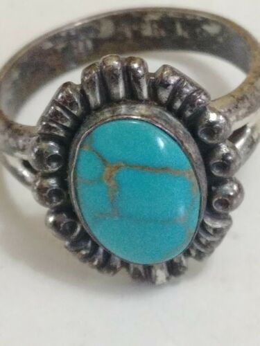 Vtg Southwestern Old Pawn Sterling Turquoise Ring Size 5 Hallmarked - $16.50