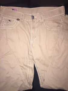 Men's True Religion Beige Pants Size 32 **USED