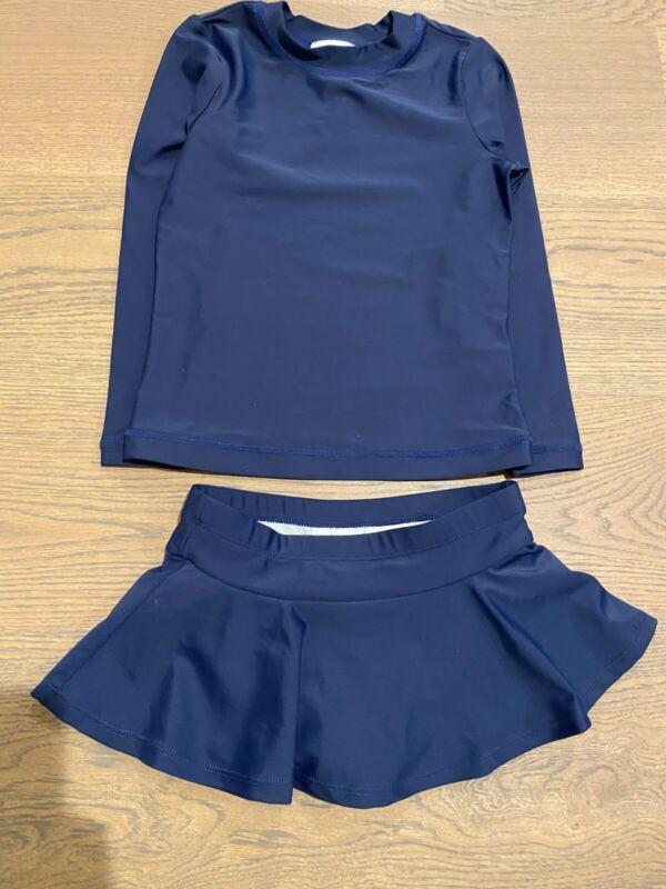 Hanna Andersson 110 (US 5) NEW Navy Blue rashguard top with swim skirt bottom