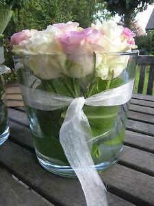 Windlicht Vase Übertopf Glas Hochzeitsdeko Blumen Glasvase 16x17cm Deko