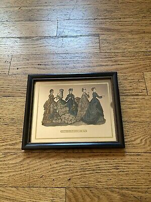 vintage godey's fashions 1870 Advertising Print Mirrored Glass