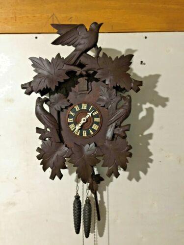 Large Vintage Black Forest Hand Carved Cuckoo Clock-Working-All Original 1950