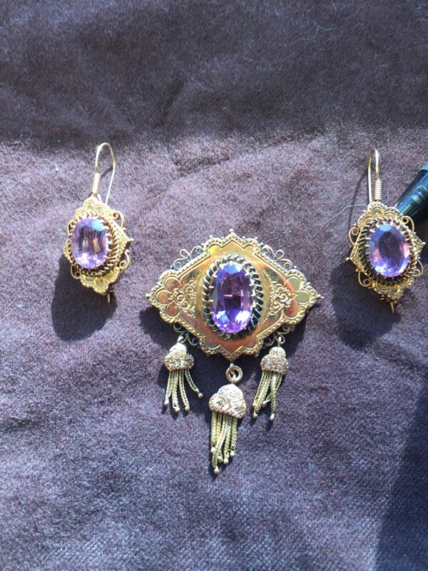 Victorian 14k Gold and Amethyst BROOCH & EARRING SET 19.4g