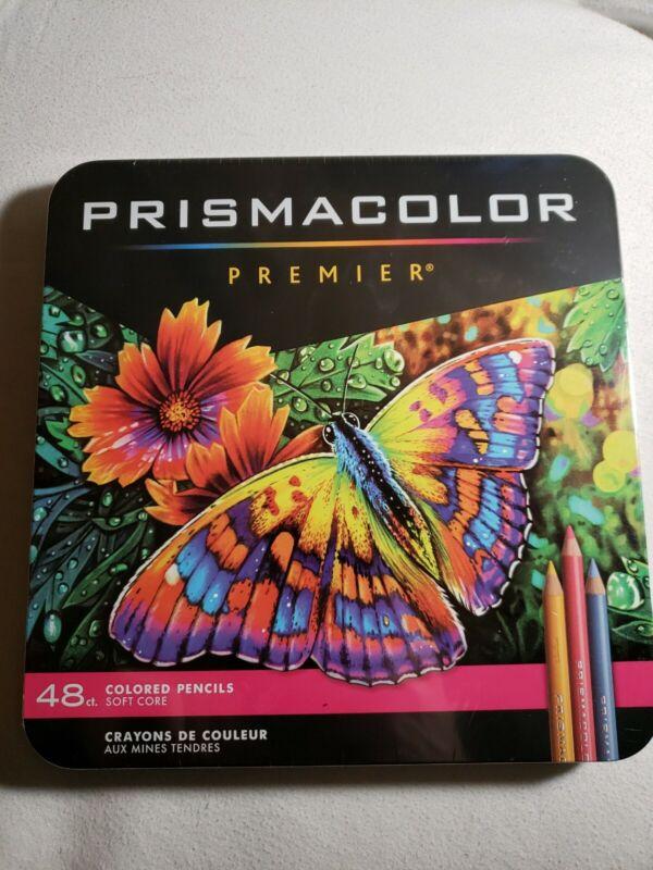 Prismacolor Premier Colored Pencils Soft Core 48-Count Tin Case Sealed Free S&H