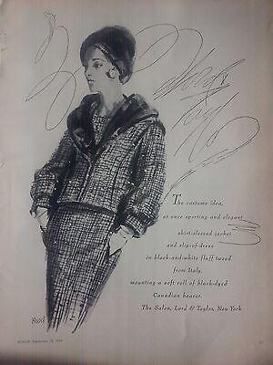 1963 Lord & Taylor Kostüm Idee Jacke Italien Original Dorothy Kapuze Kunst