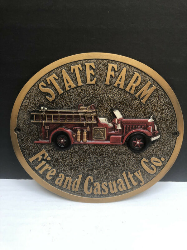 """State Farm Fire and Casualty Insurance Fire Truck Advertising Metal Plaque 11.5"""""""