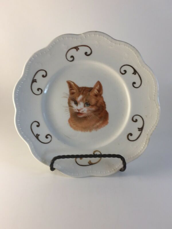 "6"" Vintage Plate With Cat Picture, E.E.G Co. Logo"