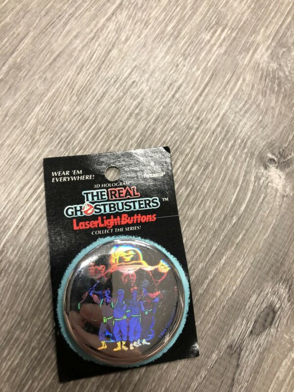 Vintage The REAL Ghostbusters STAY PUFT 3D Hologram Laser Light button NEW RARE
