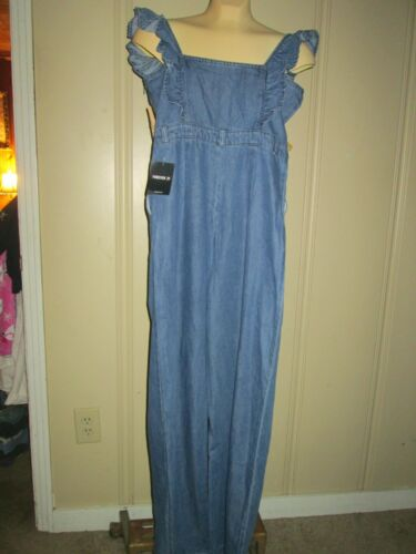 Forever 21 Denim Collection Sleeveless Jumpsuit-Size M-ruffle over shoulder