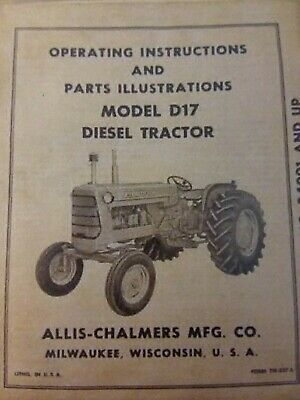 Allis-chalmers D17 Diesel Agricultural Farm Tractor Owner Parts Manual 262 Ci