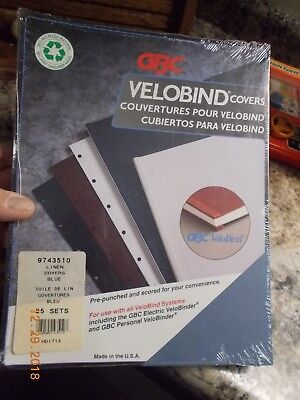 Gbc Velobind Linen Covers 9743510 Blue New Pack Of 25 Sets Pre-punched Scored