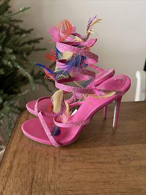 Rene Caovilla Neiman Marcus Pumps Pink Feathers Stiletto Sz 37.5 US 7.5 $1175