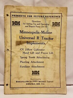 Minneapolis-moline Universal R Tractor Implements Operating Repair Parts List