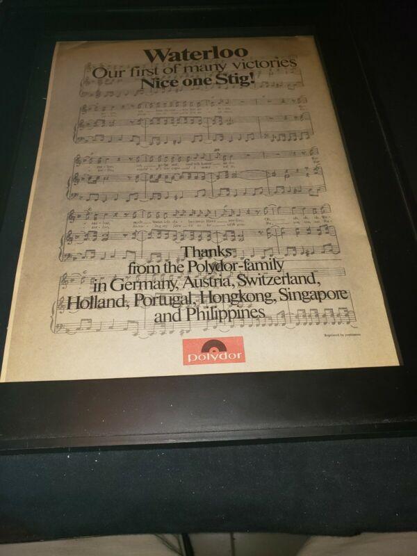 ABBA Stig Anderson Waterloo Rare Original Promo Poster Ad Framed!
