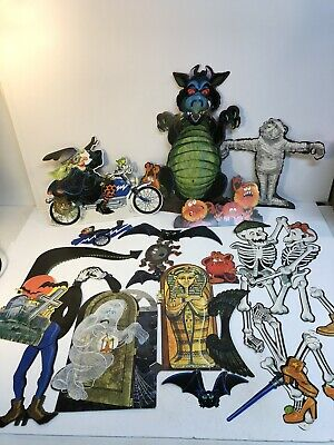 Vintage Lot Of Halloween Hallmark 1980 Cat Sidecar Die Cut Decorations