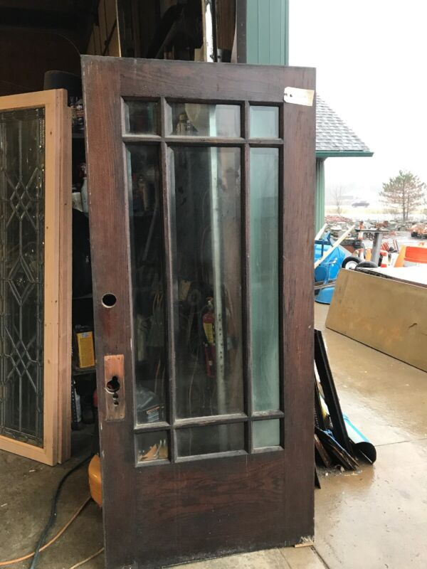 ED 1 Antique Arts And Crafts 9 Light Beveled Glass Entrance Door 35.75 X 80