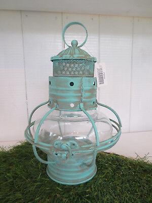 Laterne mit Glaseinsatz * H 27 cm *antique türkis * Strand* Metall * Vintage*