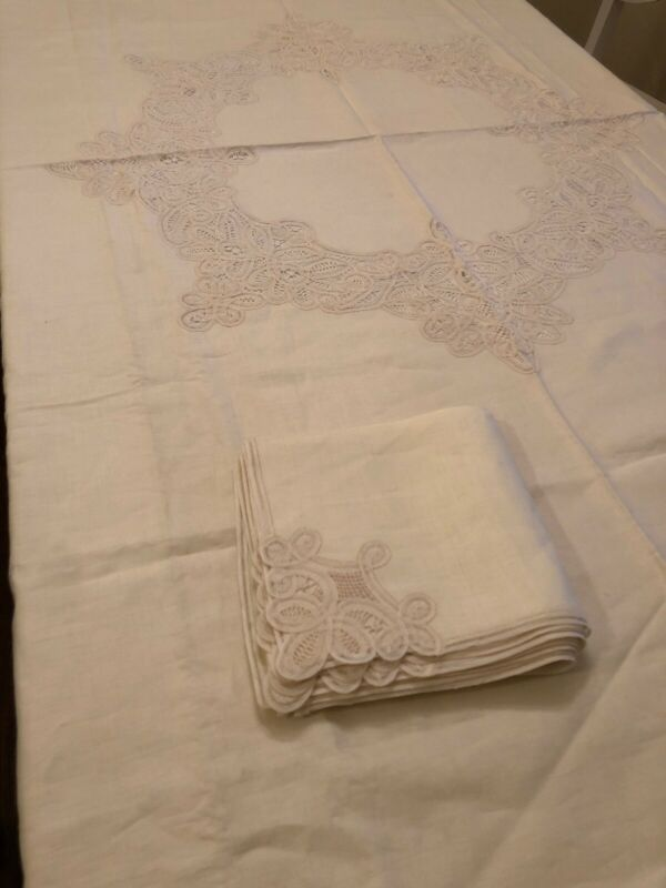 "Vintage BATTENBURG TAPE LACE HANDMADE TABLECLOTH/ 11 Napkins Oval 84""x 88"" NEW"