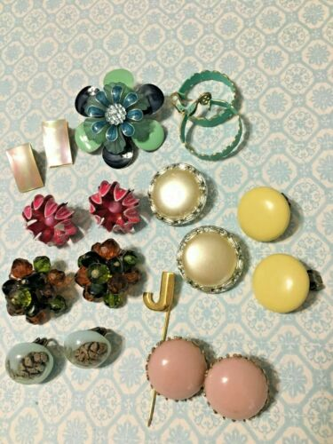 Vintage Jewelry Lot Lisner W Germany MOP Earrings J Stickpin Flower Power Brooch