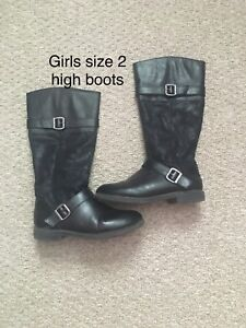 Girls size 2 boots and designer shoes