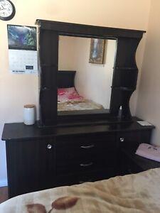 Black dresser / wardrobe with mirror