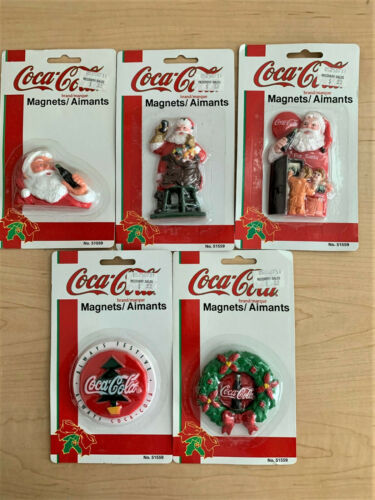 Vintage 1995 Coca-Cola Christmas Magnets Set of 5