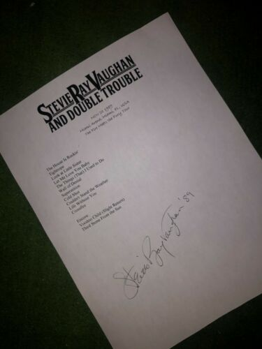 Stevie Ray Vaughan signed setlist Repro auto 1989 Fire Meets the Fury Tour