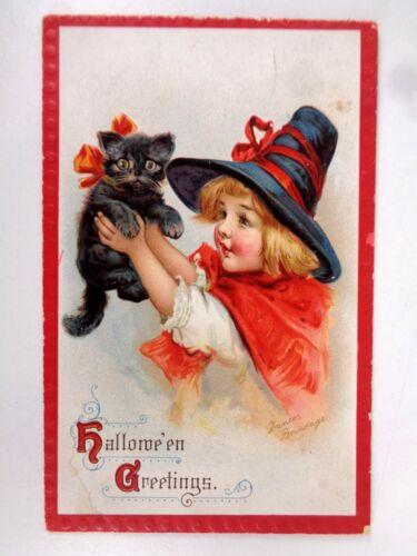 Vtg Halloween Postcard Frances Brundage Series #120 Girl Black Cat Kitten