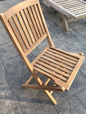 Pair of TEAK Outdoor Patio Furniture / 2 Flores Folding Chairs NEW ()