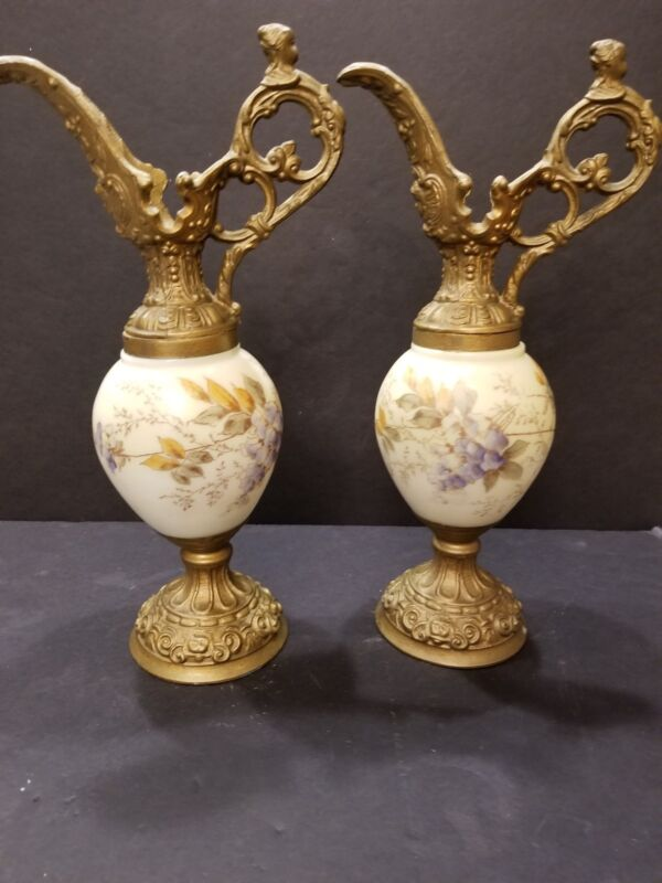 French Sevres Ewers 1850-1899 Cherub  handle, Metal /Omolu Hand Painted Flowers