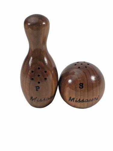 Vintage Bowling Ball Pin Wood Souvenir Missouri Salt and Pepper Shakers   *B2