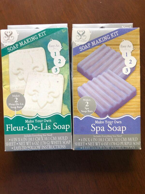 Soap Making Kits Lot Of 2 Soap Studio Fluer-de-lis And Spa Soap