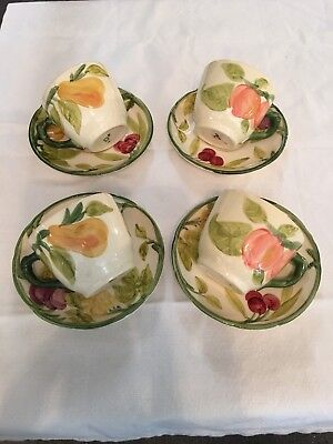 4 Franciscan Fresh Fruit Cup and Saucer Made in USA