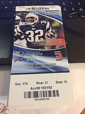 2016 NEW ENGLAND PATRIOTS VS BUFFALO BILLS TICKET STUB NFL 10/2 ANTOWAIN SMITH